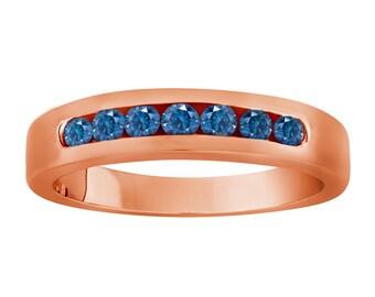 7 Stone Wedding & Anniversary Blue Diamond Band 0.38 Carat 14K Rose Gold Canal Set Handmade