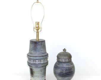 Raymor Italian Pottery Lamp and Urn Set by Alvino Bagni . Mid-Century Modern
