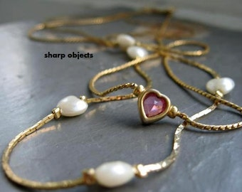 LOVE IS - 2 pc set, petite vintage gold chain, pearl hearts, fused beads, simple single petite purple amethyst stone charm, clasp NECKLACE