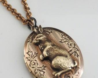 Locket Necklace - Vintage Necklace - Rabbit Necklace - Rabbit Jewelry - Brass Jewelry - Bunny Necklace - Handmade