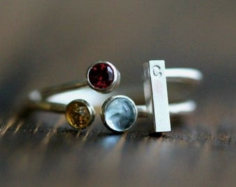 Elegant Three Birthstone & Initial Stacking Ring Set- Two Rings in Silver or GF Bands w/ Custom Initial Bar w/ 3 Gemstones By Pale Fish NY