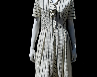 Vintage 50's sheer black and white stripped dress full skirt s8 new look shirt dress MINT by thekaliman