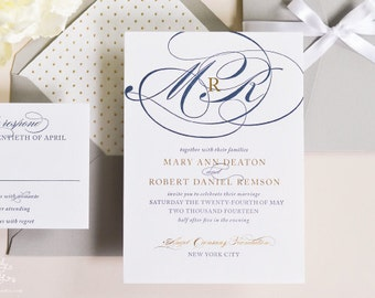 INVITATION SAMPLE The Rosé Suite - Gold Foil and Navy Letterpress Wedding Invitation - Heirloom Wedding Invitations by Sincerely, Jackie