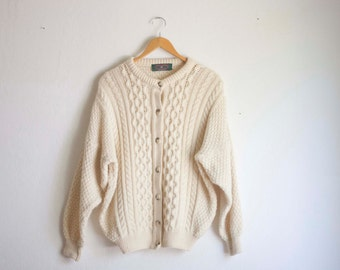Cream Cable Knit Cardigan Sweater