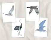bird postcard set, animal postcards, set of 4, blue bird silhouette art, whimsical animal art, gray, reclaimed wood art, woodland decor