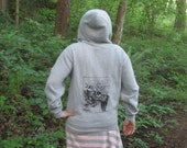 Tree Hoodie - Medium Unless...  Lorax Theme Clearcut Print, Small, Grey - punk hoody, dr seuss screenprint, environment, sweatshirt gray