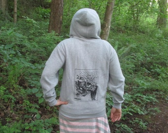 Tree Hoodie - Medium Unless...  Lorax Theme Clearcut Print, Small, Grey - punk hoody, dr seuss screenprint, environment, sweatshirt gray