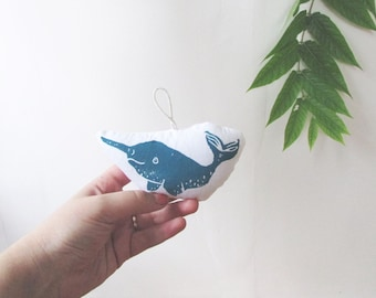 Narwhal Ornament. Mini Plush. Hand Stamped. Pick your color. Made to order.
