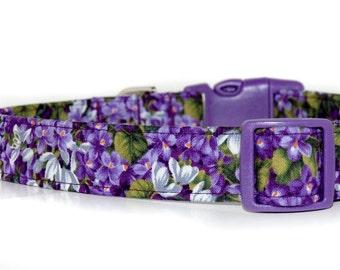 Wisteria,,,,,,,,Purple Floral Dog Collar