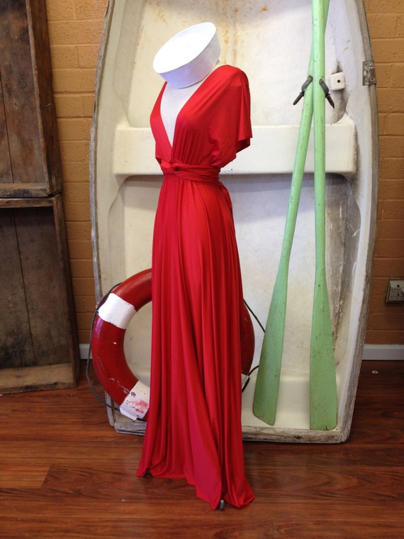 """Ready to Ship- Standard Size, 50"""" Long, Coney Island Red Satin-Long Maxi Dress -Octopus Infinity Convertible Wrap Gown"""