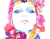 "Archival Prints of Watercolour Fashion Illustration, 8.5"" x 11"" Titled - Pink Roses"