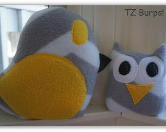 Grey and White Chevron Owl and Bird Gift Set - Yellow Gray Owl Bird Gift Set- Yellow Grey Owl and Bird - Owl and Bird Plushies