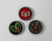 Set of Three Christmas Yo Yo Bottle Cap Tack Pins