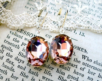 You are Blushing, Estate Style Honey Rose Blush Vintage Oval Cut Jewel Silver Plated Earrings