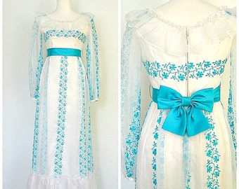 1960s Dress - Alice In Wonderland - wedding dress - bridesmaid -prom - formal dress - S M