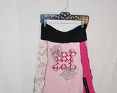 Recycled tee shirt skirt  with yoga pant style waistband size large L0041