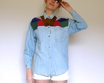 70s Southwest Suede Color Blocked Chambray Blouse xs s m