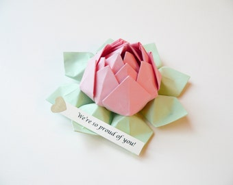 PERSONALIZED Origami Lotus Flower - Blossom Pink and Mint Green + gift box - get well, birthday, baby - can send directly