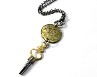 Keepsake Vintage Steampunk Pocket Watch Key Travel Token Necklace - SILVER and GOLD - Connecticut Travel Token by Compass Rose Design