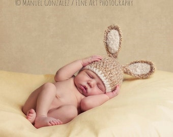 Baby Bunny Hat, Newborn Photography Prop, Baby Photo Prop