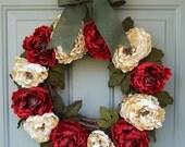 Holiday Wreath - Christmas Holiday Wreath - Wreath for Holiday Christmas Door