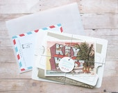 Vintage Travel - Bundled Wedding Invitation Suite with Tag, Postcard, Inserts - Destination Inspired Invitation Out-Of-Town Wedding Event