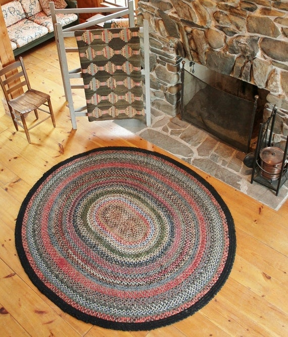 Authentic Farmhouse Antique Roomsize Braided Rug