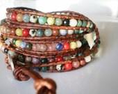 Leather Wrap Bracelet Gemstone Jewelry Wrap Bracelet 5X Multi Beaded Bracelet Jenny Whisconier