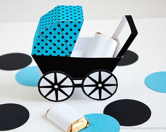 Modern Baby Carriage Favor Box - Turquoise & Black : DIY Printable Baby Buggy Gift Box | Pram | Baby Shower Favor - Instant Download