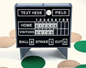 Baseball Scoreboard Favor Box : DIY Printable Vintage Scoreboard Gift Box | Baseball Birthday | Baseball Field - Instant Download