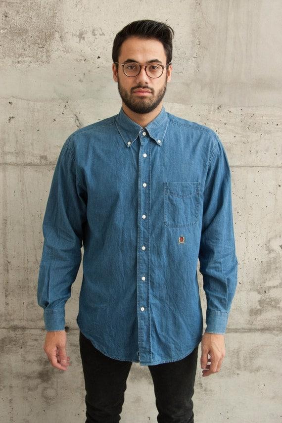 Light Denim Shirt / Mens Jeans Button Up Shirt / Tommy