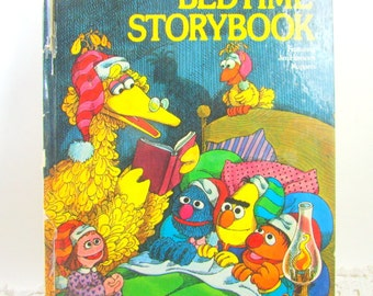 Sesame Street Bedtime Storybook, 1970s Vintage Illustrated Sesame Street Book, Muppets Book, Jim Henson's Muppets, Bedtime Stories Kids Book