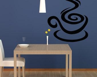 Vinyl Wall Decal Sticker Coffee Swirl OSAA1417m