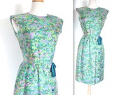 Vintage 1960's Dress // 50s 60s Turquoise Squiggle Print Party Dress // Cocktail Hour