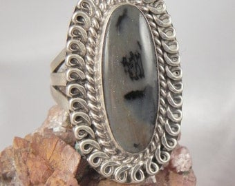 Moss Agate Sterling Ring