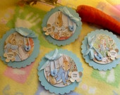 Baby Shower Corsage Pin...Peter Rabbit..Beatrix Potter.. Baby Shower..Mom to Be Corsage..Celebrating Family..Free Personalizing  :)