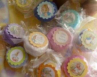 Peter Rabbit Baby Shower..Bundle of 5 Baby Washcloth Candy Favors...Peter Rabbit Baby Shower Favors..Beatrix Potter..Baby Washcloths :)