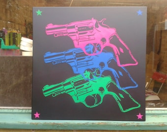 Pop guns large canvas painting,pop art,revolver,stencil art,spray paint art,neon,pink,green,blue,pop culture,black,wall art,black,street art