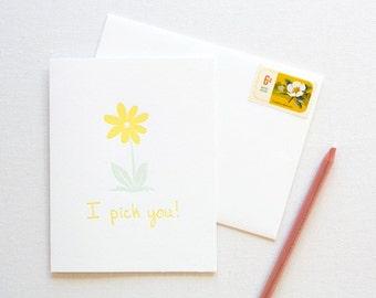 Daisy Flower Love Letterpress Card