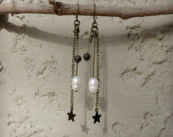 Bohemian Pearl Dangle Earrings, rustic tribal freshwater pearl earrings with star charms, brown jasper and antiqued brass