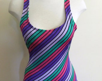 1980s Striped One Piece Bathing Suit - Ladies Size Medium/Large