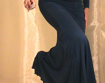 Bellydance trumpet skirt, mermaid skirt in silky dark Blue Lycra - SM-MED