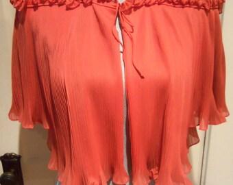 60s VANITY FAIR--Fortuny Pleats Bed Jacket--Sheer--Rosettes--String Ties