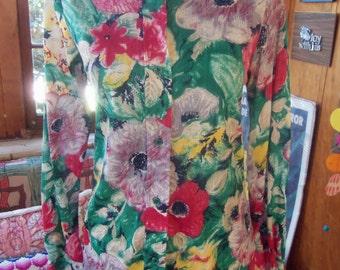 70s DAVID FERGUSON—Nylon Print Shirt—--Oversized Flowers—Button Down—Slim Fitting