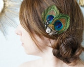 MARIELLE -- Natural Peacock Feather and Guinea Hair Clip Headpiece Fascinator, Sparkling Rhinestones, Perfect for the Bride and Bridesmaids