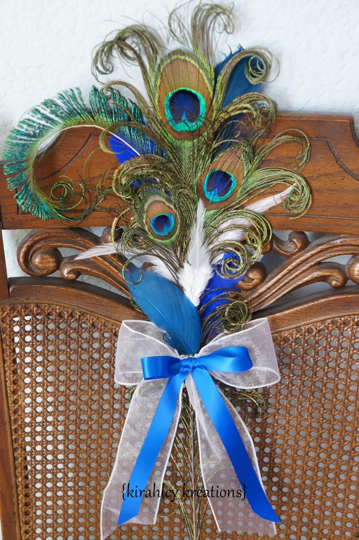 peacock pew bows ceremony aisle blue feather decoration bride. Black Bedroom Furniture Sets. Home Design Ideas