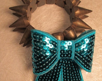 TURQUOISE SEQUIN BOW-Big Sequin Bow Hair Clip