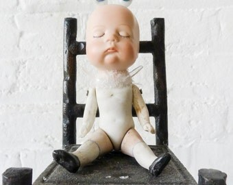 Watching Baby Frankenstein - Antique German Bisque Doll - Cast Iron High Chair  - Rabbit Ears Glass Blue Eyes - Neo Surreal Collection OOAK