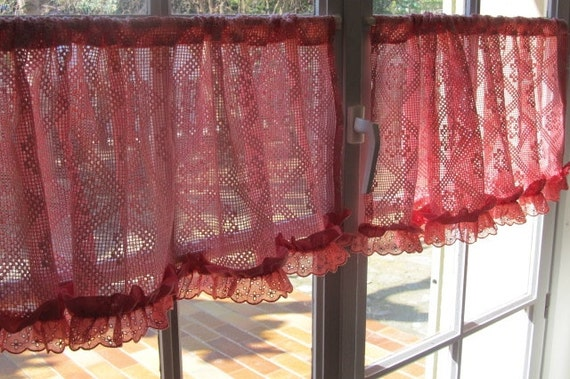 Red Bedroom Curtains Pair Cotton Lace Valances Nursery