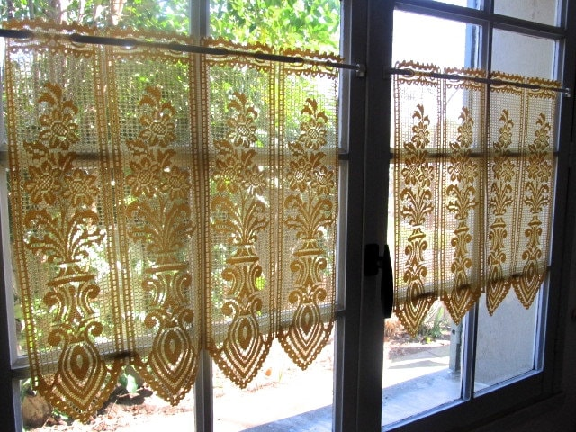 Yellow Lace Cafe Curtains Buttercup Kitchen Curtains Pair